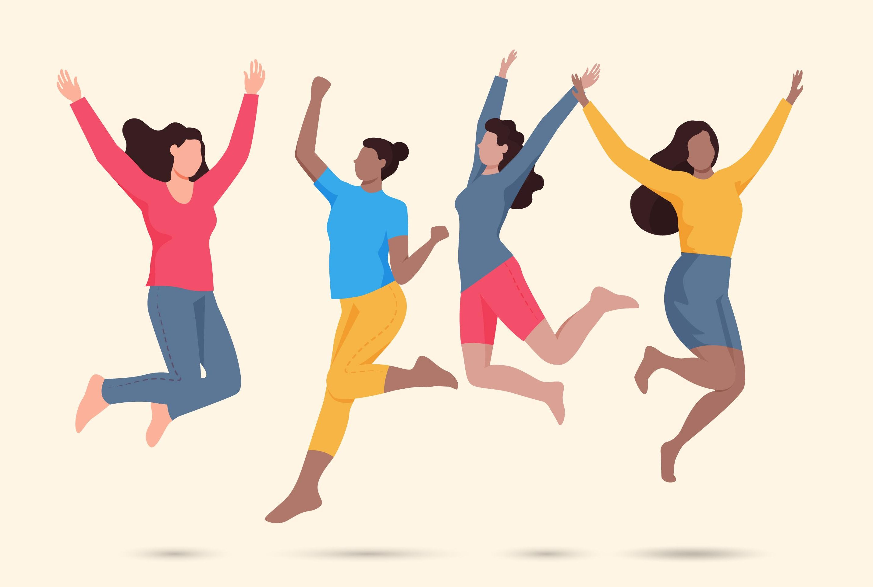 An image representing women jumping in the air in celebration, courtesy of Freepik.